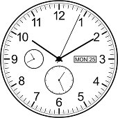 Black and white analog clock with date