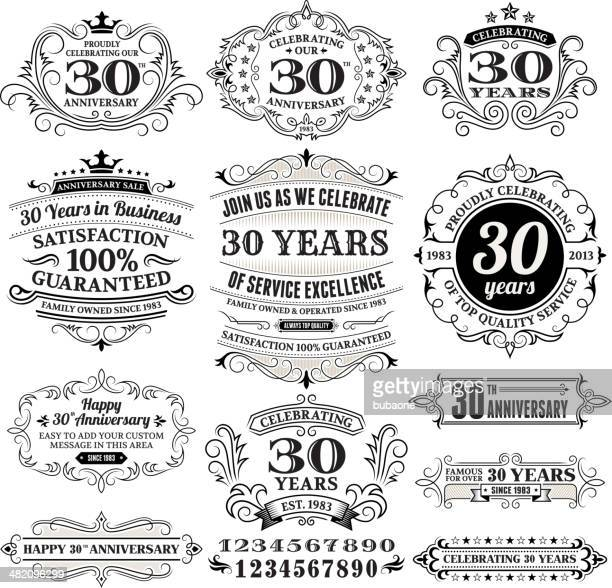 Black and white anniversary labels