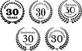 Black and white anniversary laurel wreaths