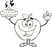 Black and White Apple Character Holding Up A Pie