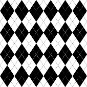 Black and white argyle seamless pattern background. Diamond shapes with dashed lines. Simple flat vector illustration