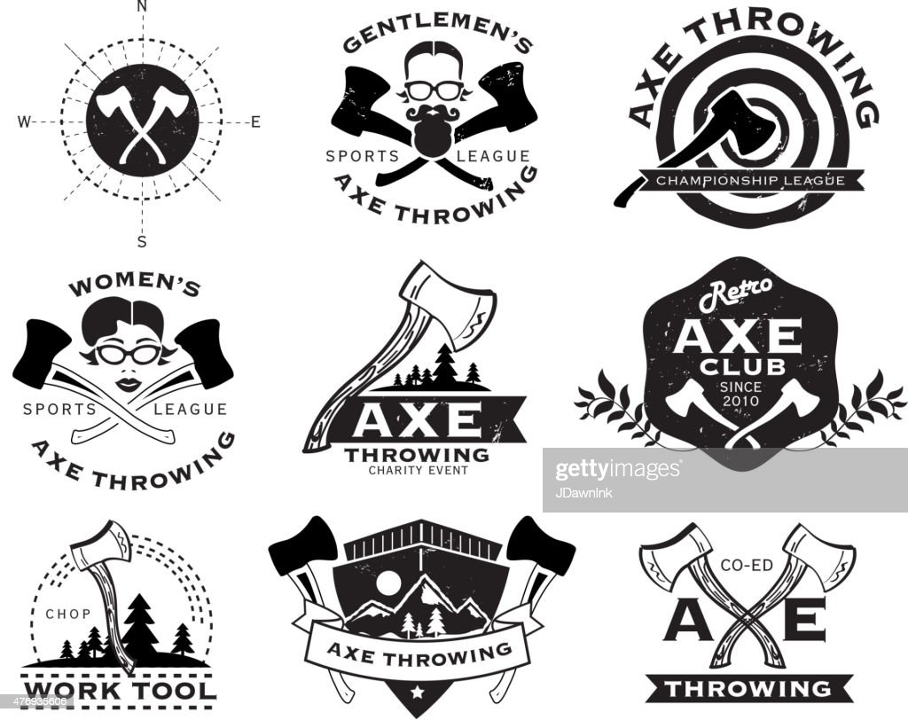 Axe stock illustrations and cartoons getty images black and white axe throwing set of labels or badges buycottarizona Choice Image