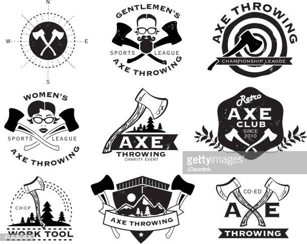 Black and white Axe Throwing set of labels or badges