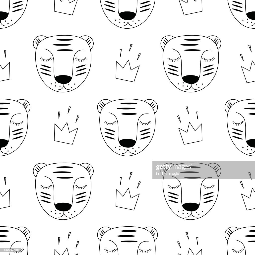 Black and white baby tiger with crown seamless pattern.