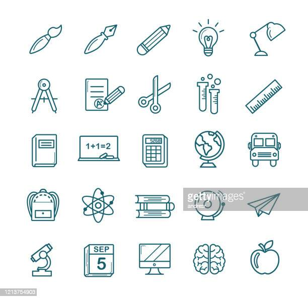 black and white back to school icon set - report card stock illustrations