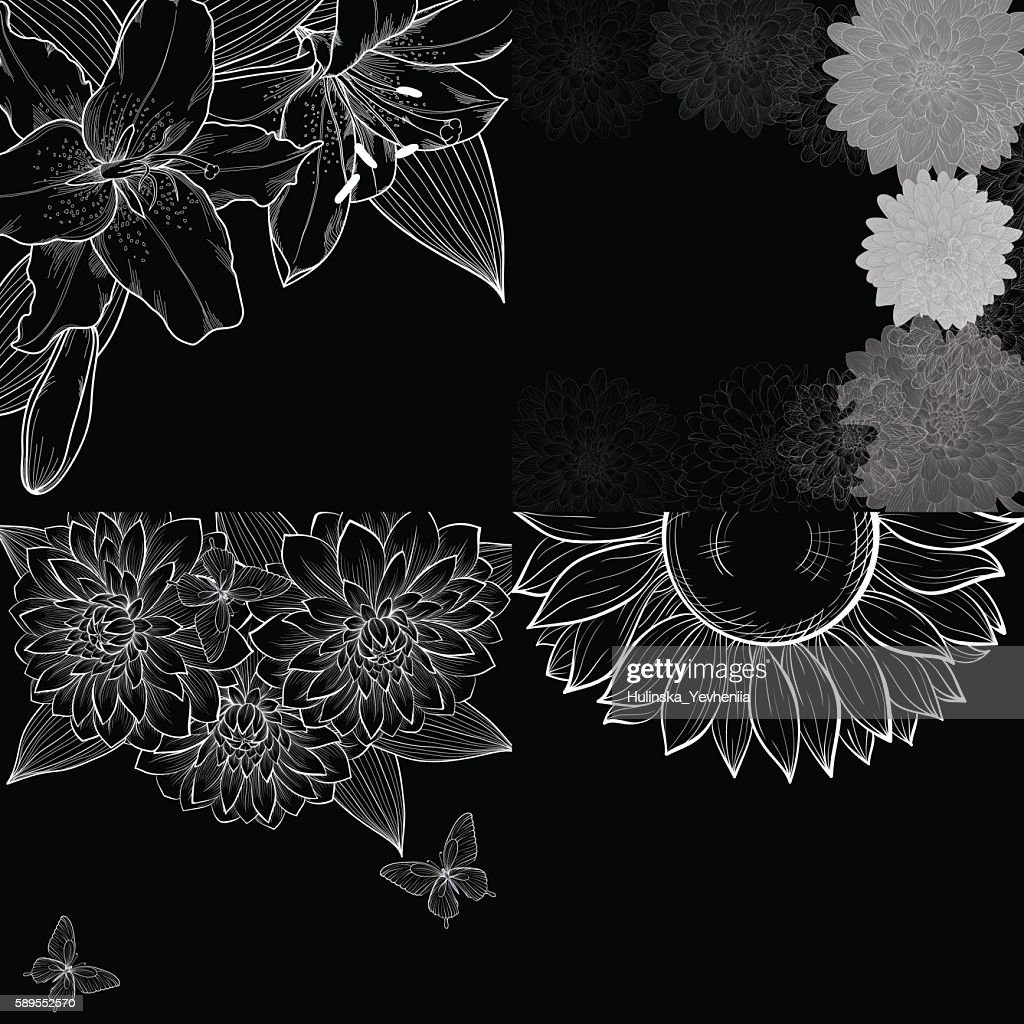black and white background frame of flowers