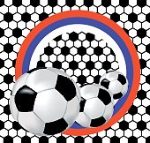 Black and white background with soccer balls and flag of Russia