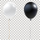 Black and white balloons. Realistic helium balloons isolated on transparent background. Holiday decoration element for events and promotions. Vector eps 10.