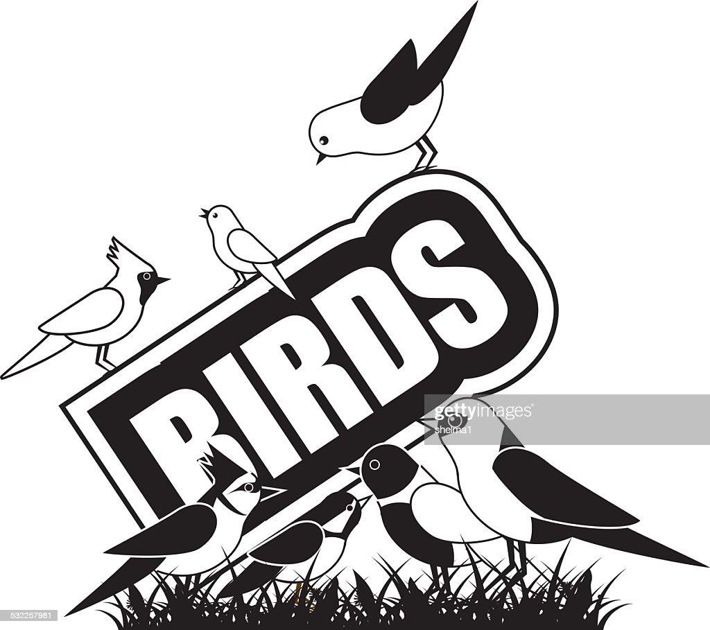 Black and white birds icon