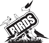 Black and white birds icon