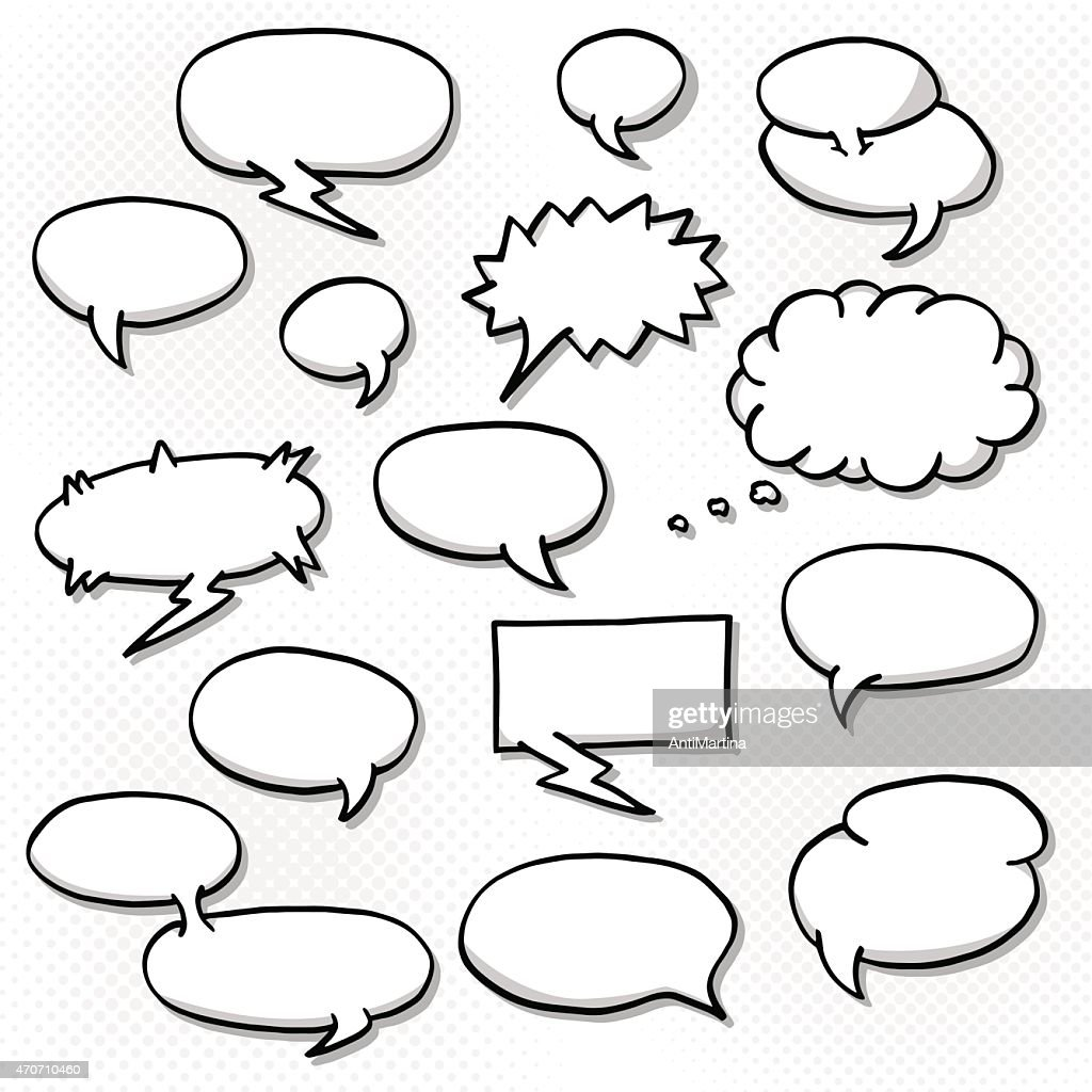 Black and white blank speech bubbles