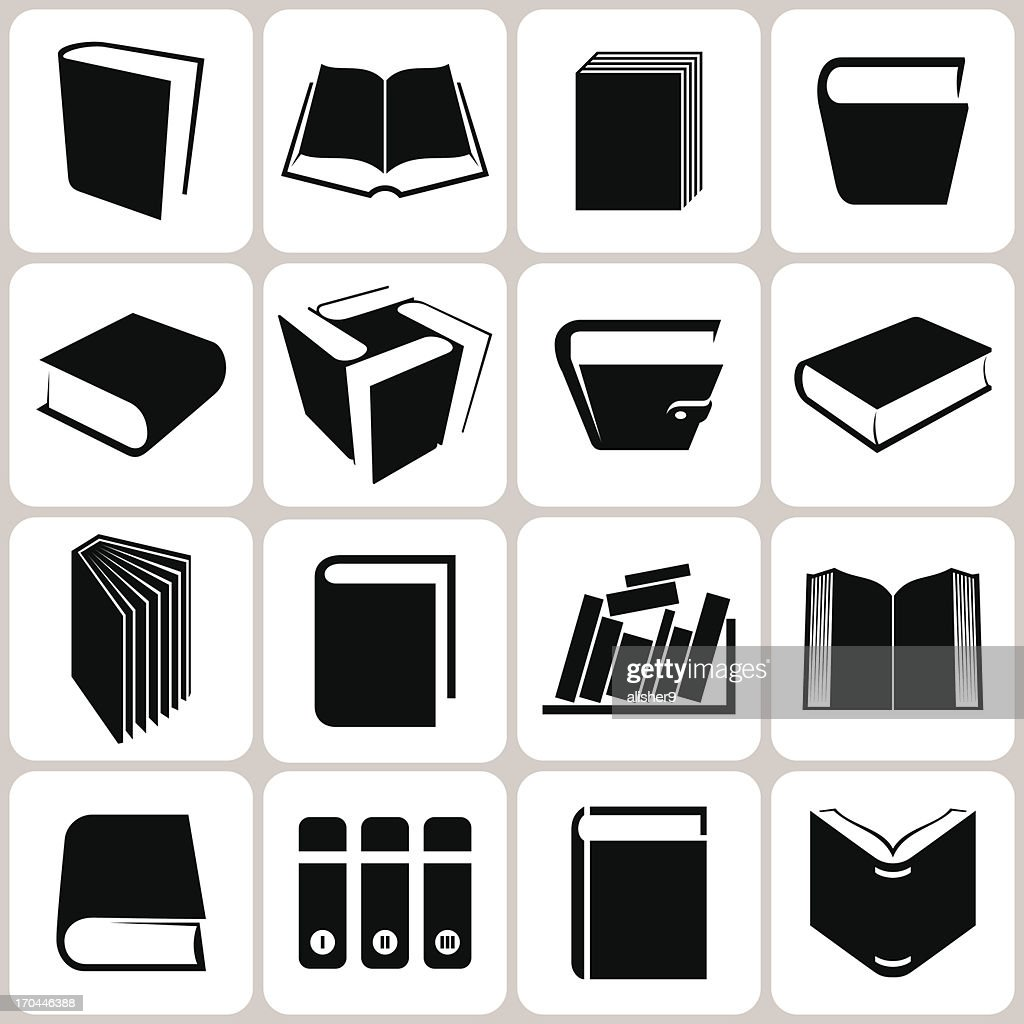 Black and white book icons in a grid