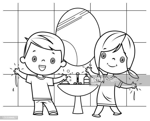 black and white, boy and girl washing hands - washing hands stock illustrations