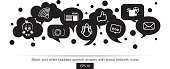 Black and white bubbles speech shapes with social network icons