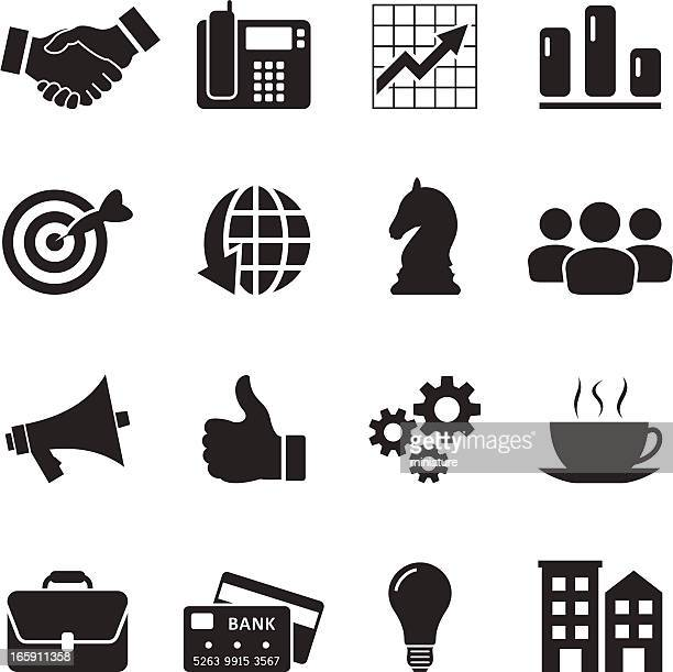 Black and white business icons