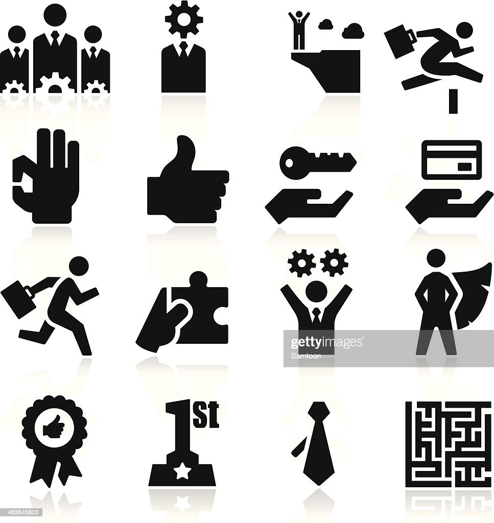 Black and white business success icons