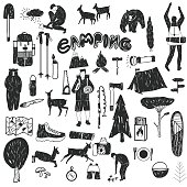 black and white camping icons