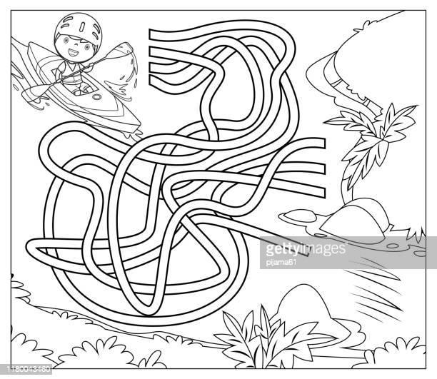 ilustraciones, imágenes clip art, dibujos animados e iconos de stock de blanco y negro, laberinto de canoas - actividad
