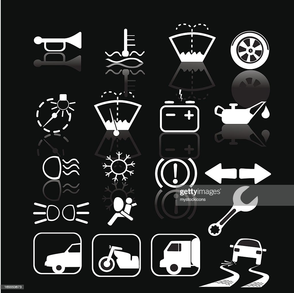 Black and white car indicator icons vector art getty images black and white car indicator icons vector art biocorpaavc