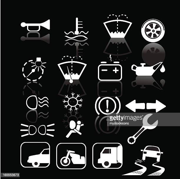 black and white car indicator icons - skidding stock illustrations, clip art, cartoons, & icons