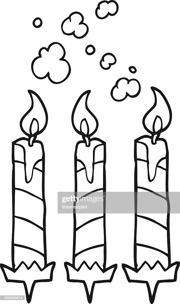 Black And White Cartoon Birthday Cake Candles Stock Vector Getty