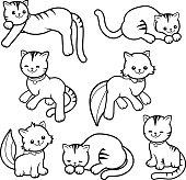 Black and white cartoon cats