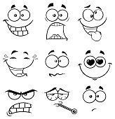 Black And White Cartoon Funny Face With Expression 2. Collection Set