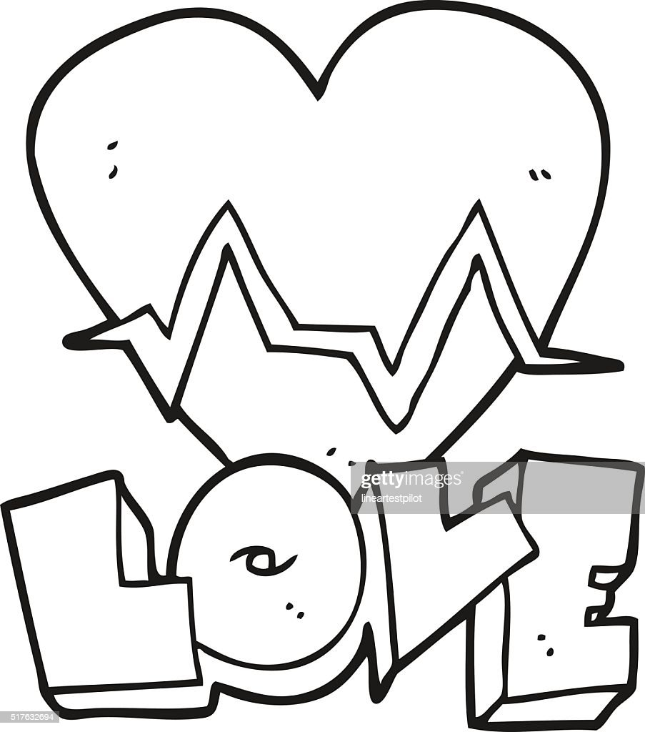 Black And White Cartoon Heart Rate Pulse Love Symbol Vectorkunst
