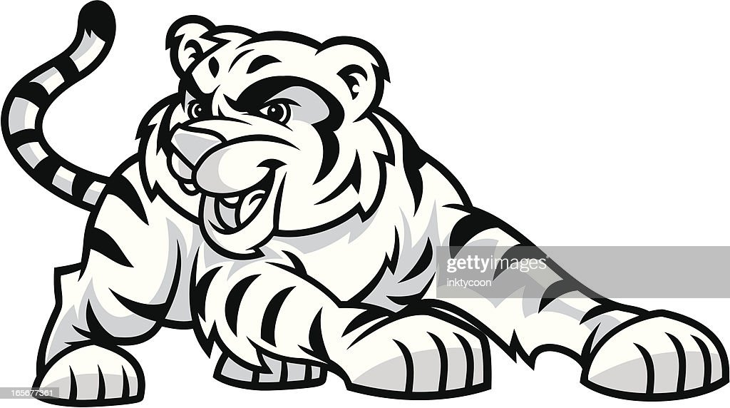 Black and white cartoon image of tiger cub