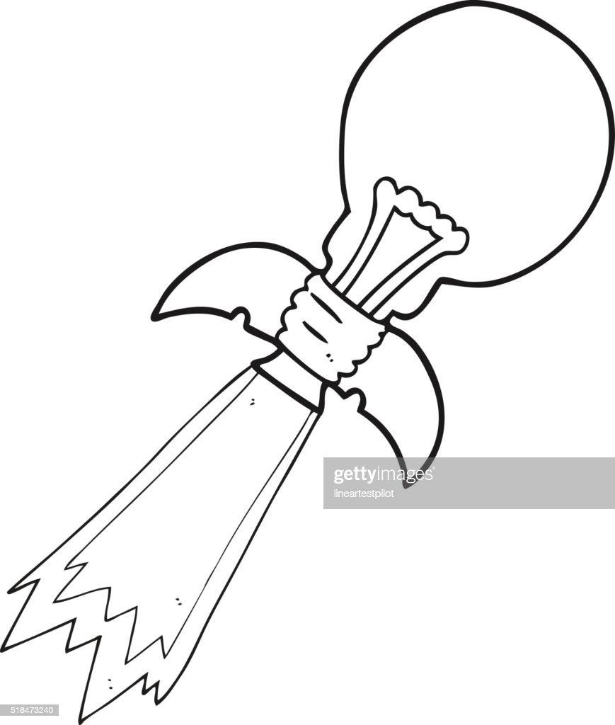 Black And White Cartoon Lightbulb Rocket Ship Vector Art Getty Images