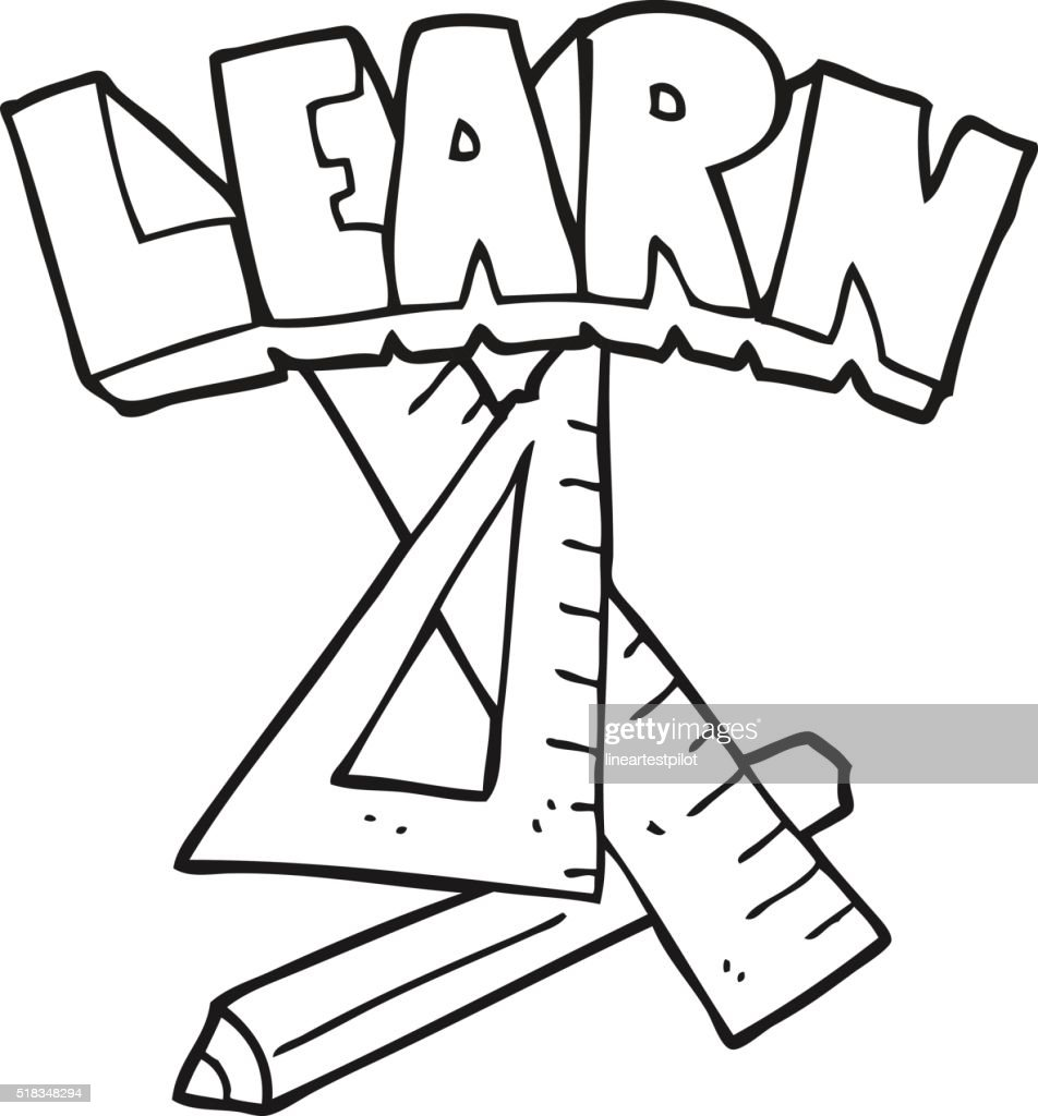 Delighted learn symbol images electrical circuit diagram ideas black and white cartoon pencil and ruler under learn symbol vector biocorpaavc Images