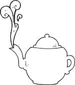 black and white cartoon teapot
