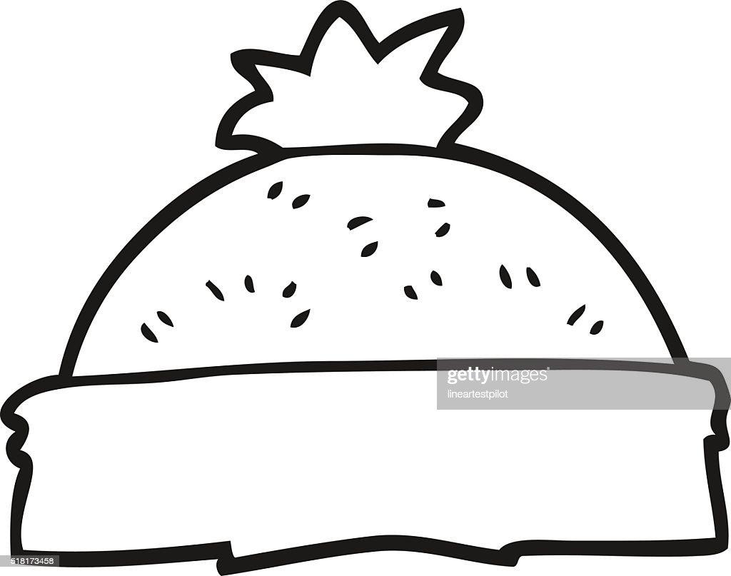 1627b27cc3d black and white cartoon winter hat   stock vector