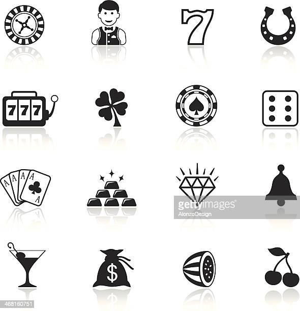 Black and white casino icon sets
