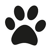 Black and white cat paw footprint silhouette