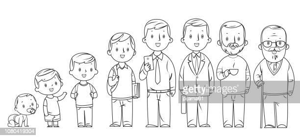 black and white, character of a man in different ages. the life cycle. - toddler stock illustrations, clip art, cartoons, & icons