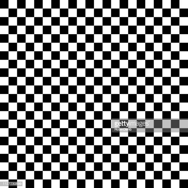 black and white checkered seamless pattern - checkered flag stock illustrations