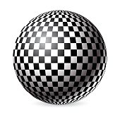Black and white checkered sphere