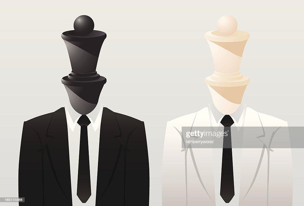 Blanco y negro de ajedrez cama Queen : Ilustración de stock