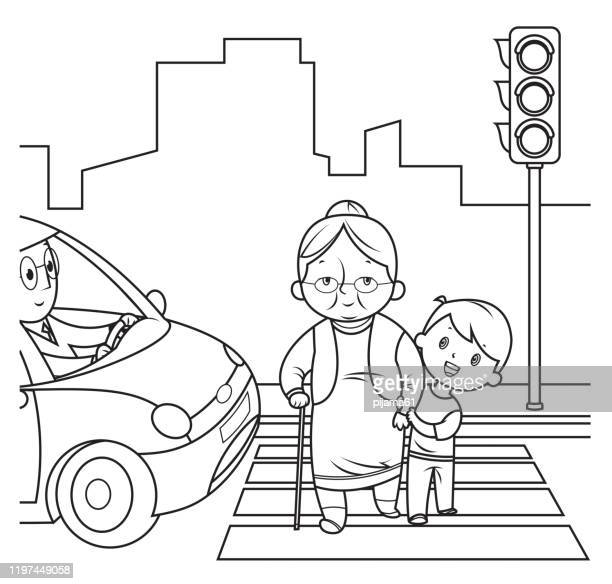 black and white, child helping old woman cross the street - zebra crossing stock illustrations