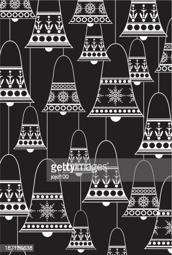 cloches de no l noir et blanc dans un nouveau motif clipart vectoriel getty images. Black Bedroom Furniture Sets. Home Design Ideas