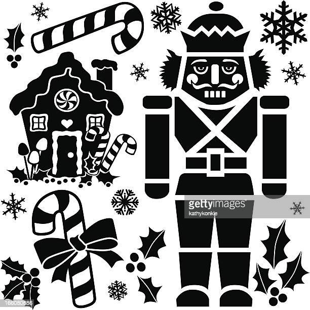a black and white christmas element design - gingerbread house stock illustrations, clip art, cartoons, & icons