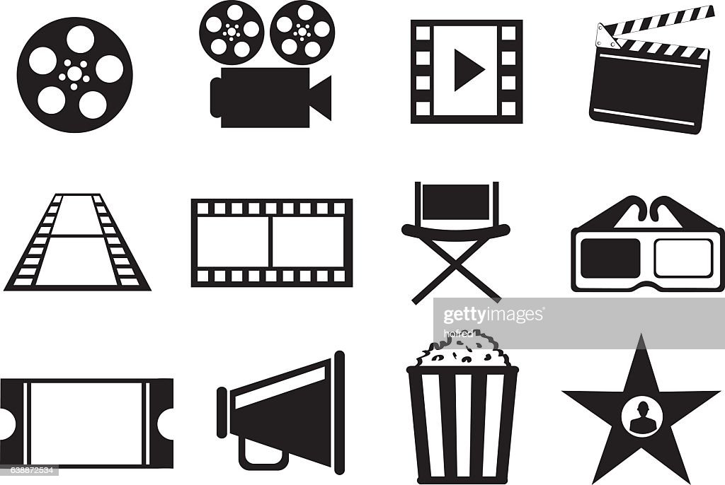 Black and White Cinema Movie Entertainment Vector Icon Set