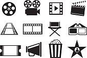 Black and White Cinema Movie Entertainment Vector Icon Set