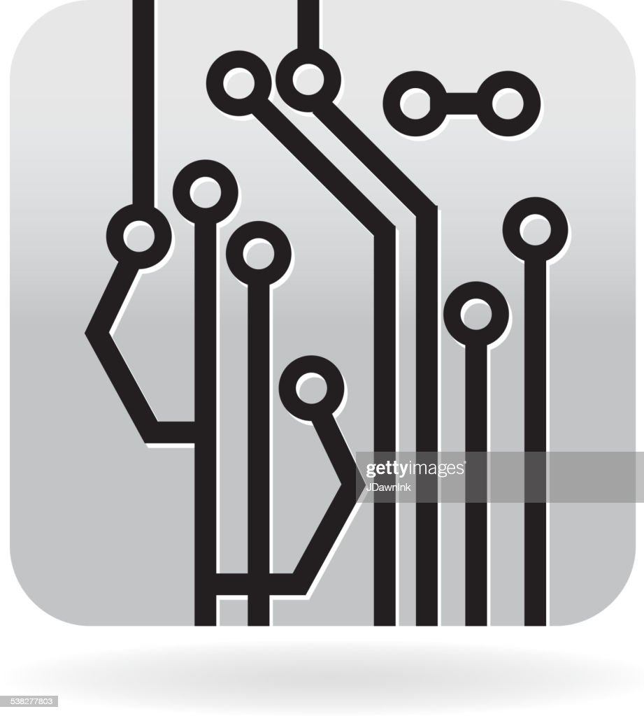 Black And White Circuit Board Scheme Icon Vector Art Getty Images Design