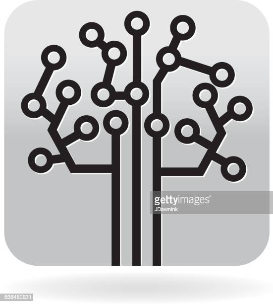 Black and white Circuit board tree icon