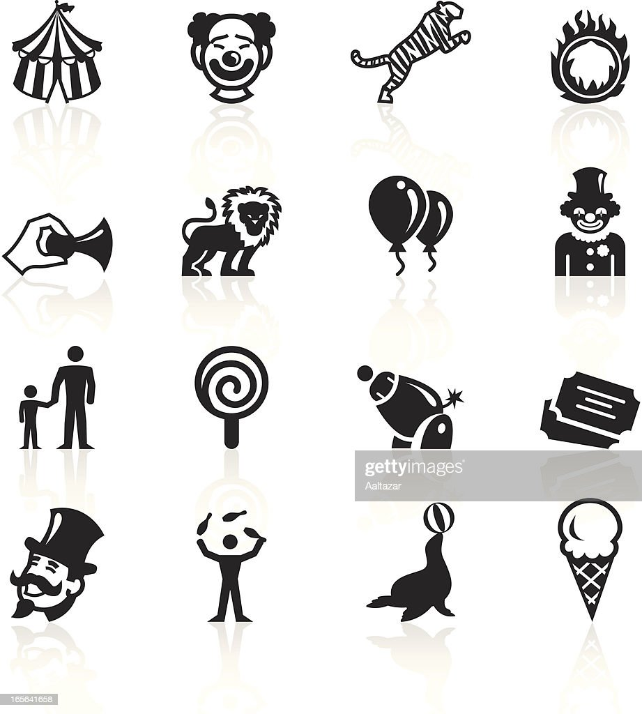 Black and white circus related icons