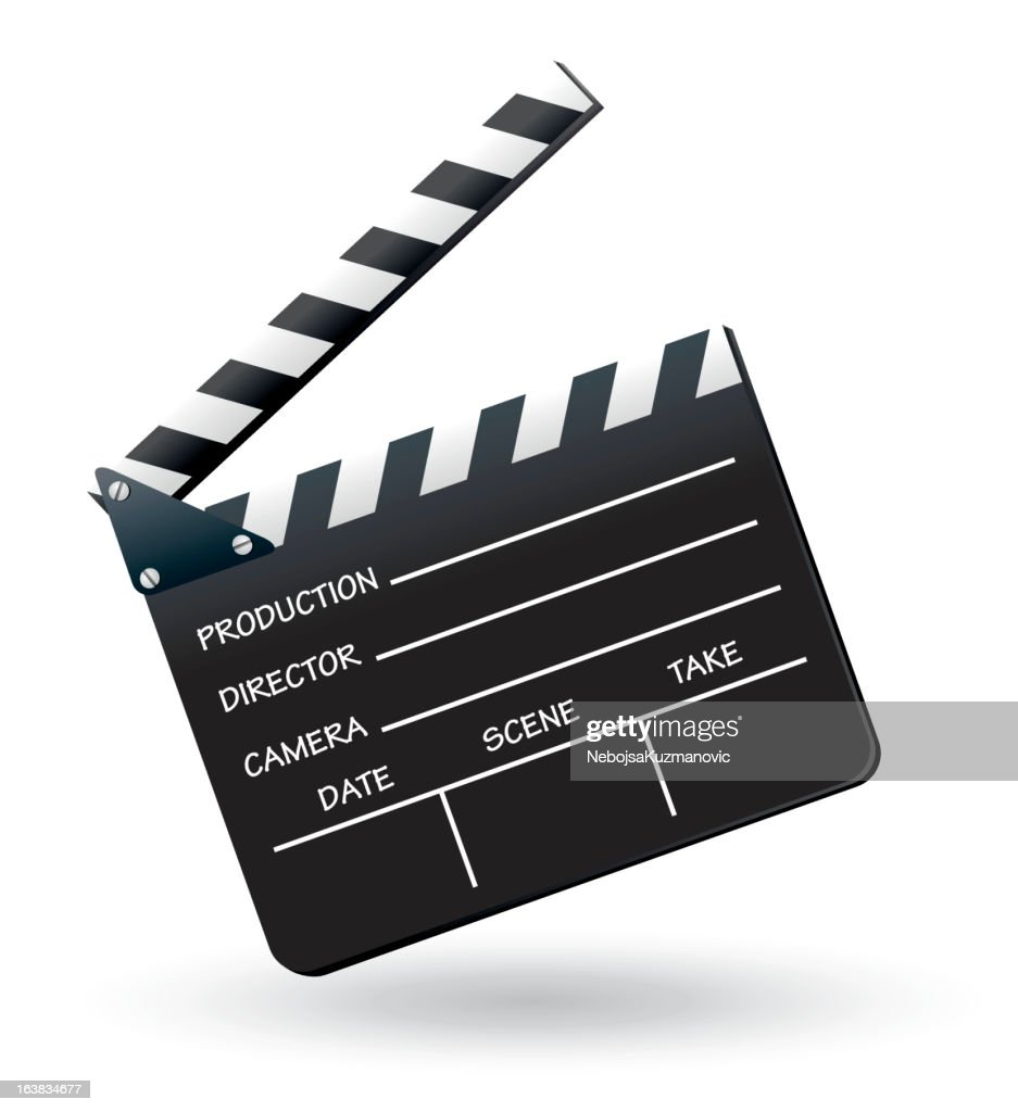A black and white clapboard on plain background