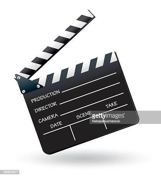 ilustraciones, imágenes clip art, dibujos animados e iconos de stock de clapboard - claqueta de cine