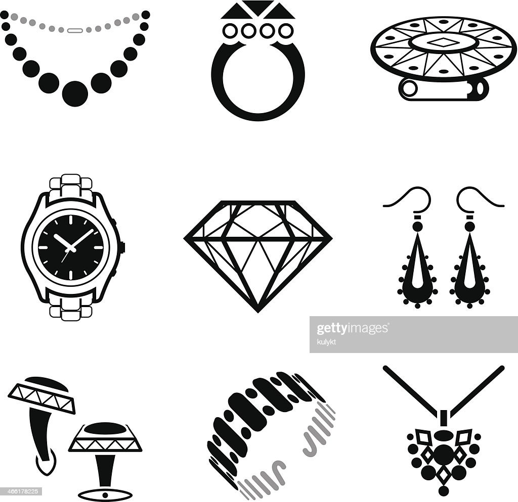 Black and white clip art jewelry images